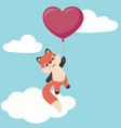 cute little fox flying with heart shaped balloon vector image