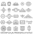 Set of thin linear ecology labels and font vector image