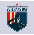 Shield with Soldier saluting vector image