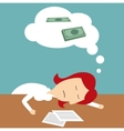 Manager sleeping in office dreaming of money vector image