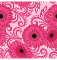seamless pattern with gerbera flowers and swirls vector image vector image