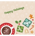 happy holidays top view of Christmas celebration vector image