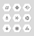 minimal geometric icons set - abstract line icons vector image