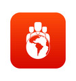 world planet and people icon digital red vector image