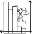 businessman on chart cartoon vector image
