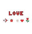 happy valentines day 8 bit pixel love message vector image