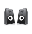 pair of black loud speakers isolated on white back vector image