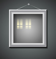 Blank picture frame with window reflection vector image