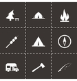 black camping icon set vector image