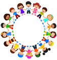 Circle of happy children different races vector image vector image