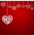 Background with hanging hearts vector image
