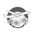 The flying airplane and Tropical Island vector image