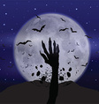 Halloween background with zombie hand vector image