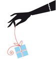 female hand holding blue gift box vector image