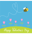 Flying bee Flowers Dash heart in the sky card vector image