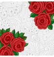 Background with red roses and leaves vector image