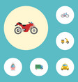 flat icons bicycle cab scooter and other vector image