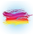 Grunge colorful brush stroke with stripes on light vector image