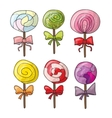 Set of colorful lollipops in hand drawn style vector image