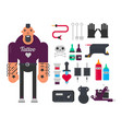 tattoo master and tattooing work tools flat vector image