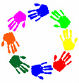 watercolor colorful hand print vector image