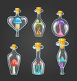 big set of different bottle with mushrooms vector image
