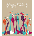 Happy kitchen silverware cartoon set vector image
