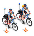 police bicycle vehicle police man and woman cops vector image