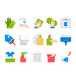 flat cleaning set icons cleaning tools vector image
