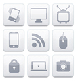 white technology app icon set Eps10 vector image vector image