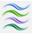 set of blue and green translucent waves vector image