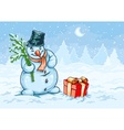 Christmas snowman and red vector image vector image