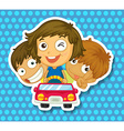 Boys and girl riding in car vector image