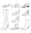 Outlined man women shoes set vector image