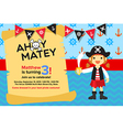 Ahoy Matey Pirate Girl Birthday Invitation Card vector image