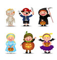 Cartoon Cute Halloween Kids In Trick Or Treat vector image