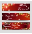 Christmas banners with garlands on red vector image
