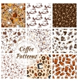 Coffee and desserts seamless patterns set vector image