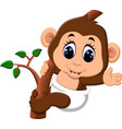cute cartoon monkey vector image