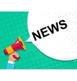 Hand holding megaphone with NEWS announcement vector image