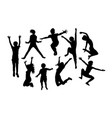 happy jumping child silhouettes vector image