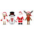 Santa Claus reindeer snowman and sheep vector image