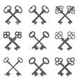 Set of crossed keys silhouettes vector image