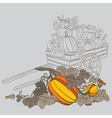 pumpkins in wagon vector image