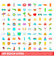 100 beach icons set cartoon style vector image