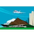 background image with train plane and cruise ship vector image