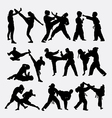 People fighting silhouette vector image