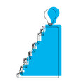 business people climbing stair block structure vector image