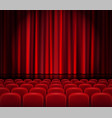 closed red curtains with seats in a theater or vector image