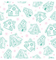 green on white gingerbread houses christmas vector image